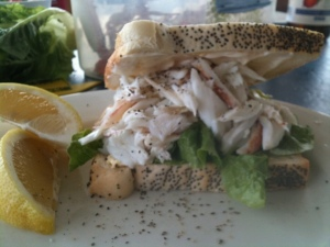 Crab sandwich with mango and chilli mayonnaise